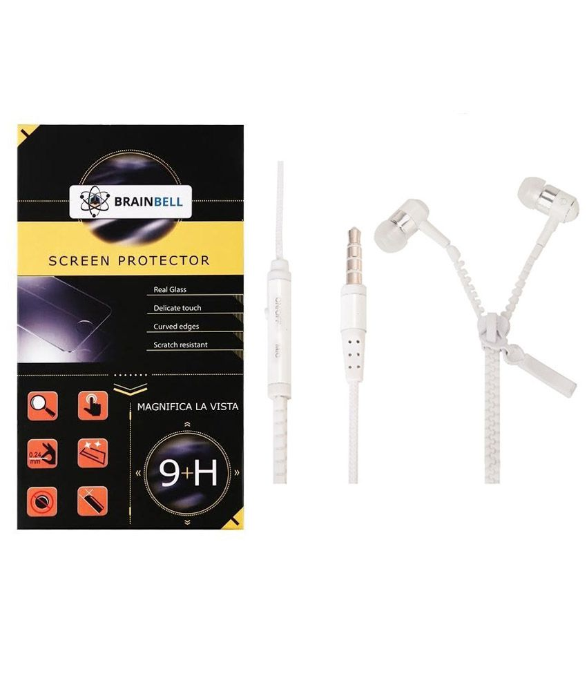 Brainbell Tempered Glass Screen Guard For Micromax Canvas Bolt D303 With Zipper Earphone