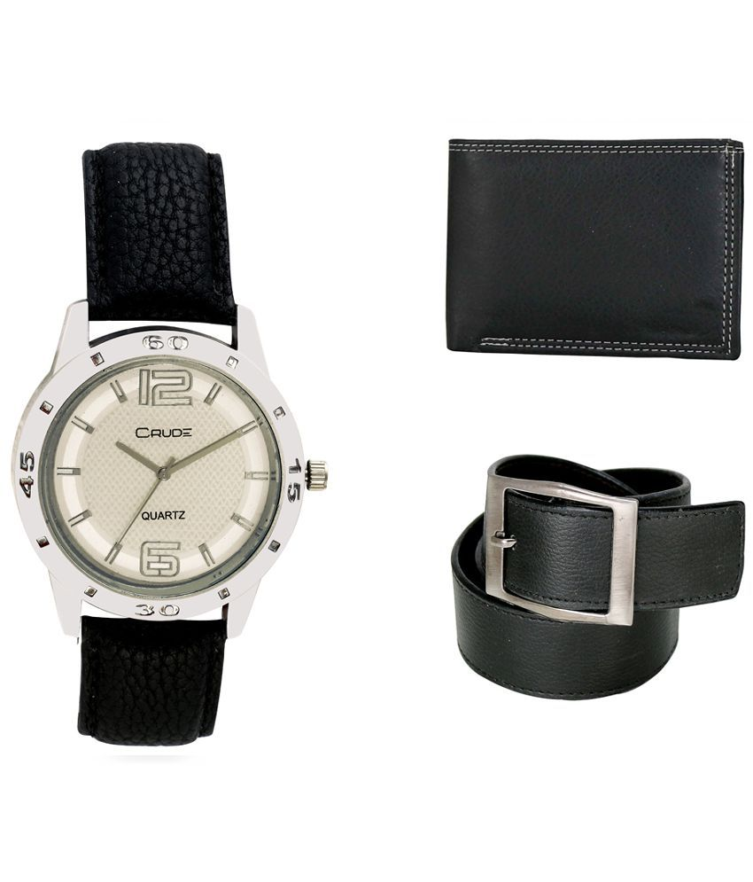 Crude Combo of Silver Leather Analog Quartz Watch, Belt and Wallet