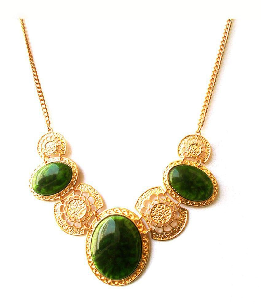 Kenisha Green Stone Gold Plated Alloy Traditional Necklace