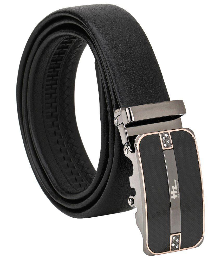 Jsj Black Leather Belt For Men