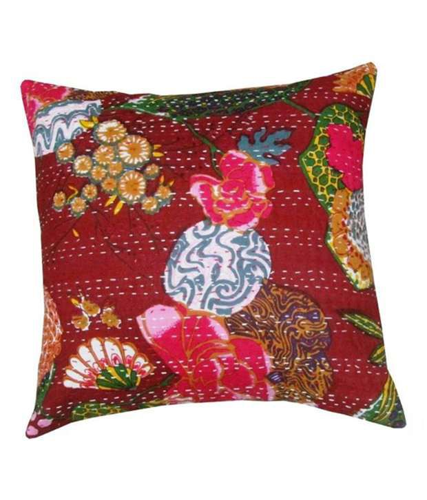 Luckyhandicraft Multicolor Cotton Cushion Cover