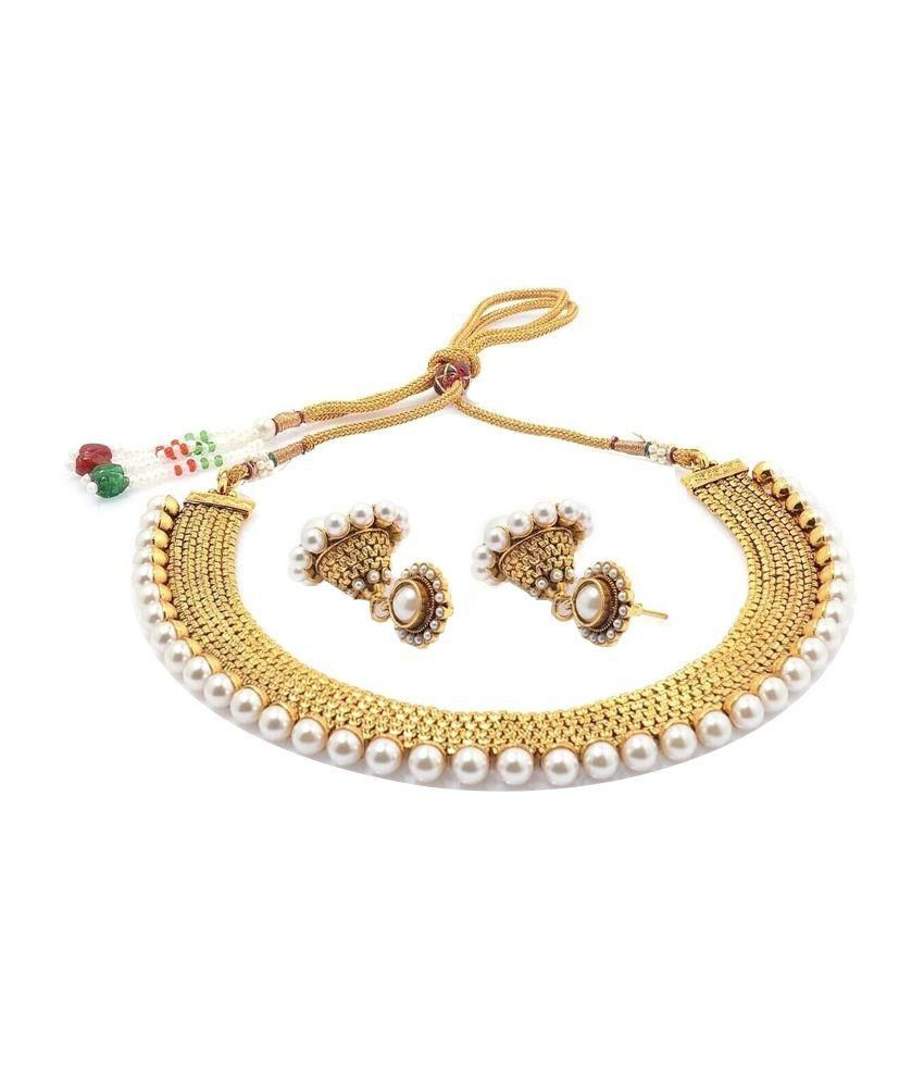 YouBella Golden and White Traditional Pearl Necklace Set