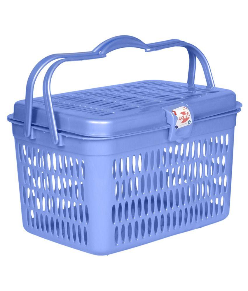 Logic Plastic Picnic Square Basket - 2 Piece - Blue & Pink