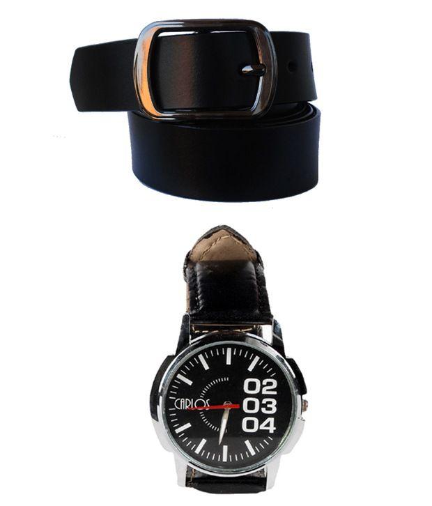 Klaska Black Leather Belt with Watch