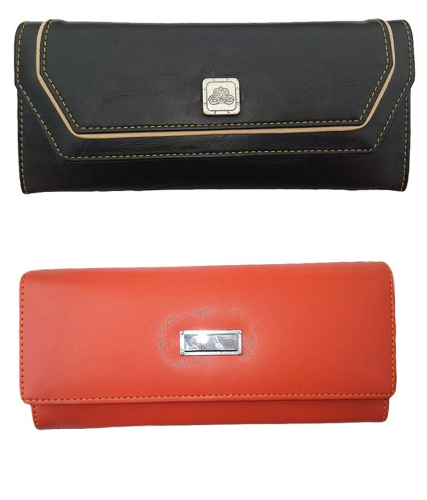 Alifs Black And Orange Regular Wallet For Women - Pack Of 2