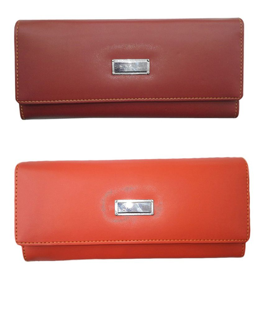 Alifs Orange And Brown Regular Wallet For Women - Pack Of 2