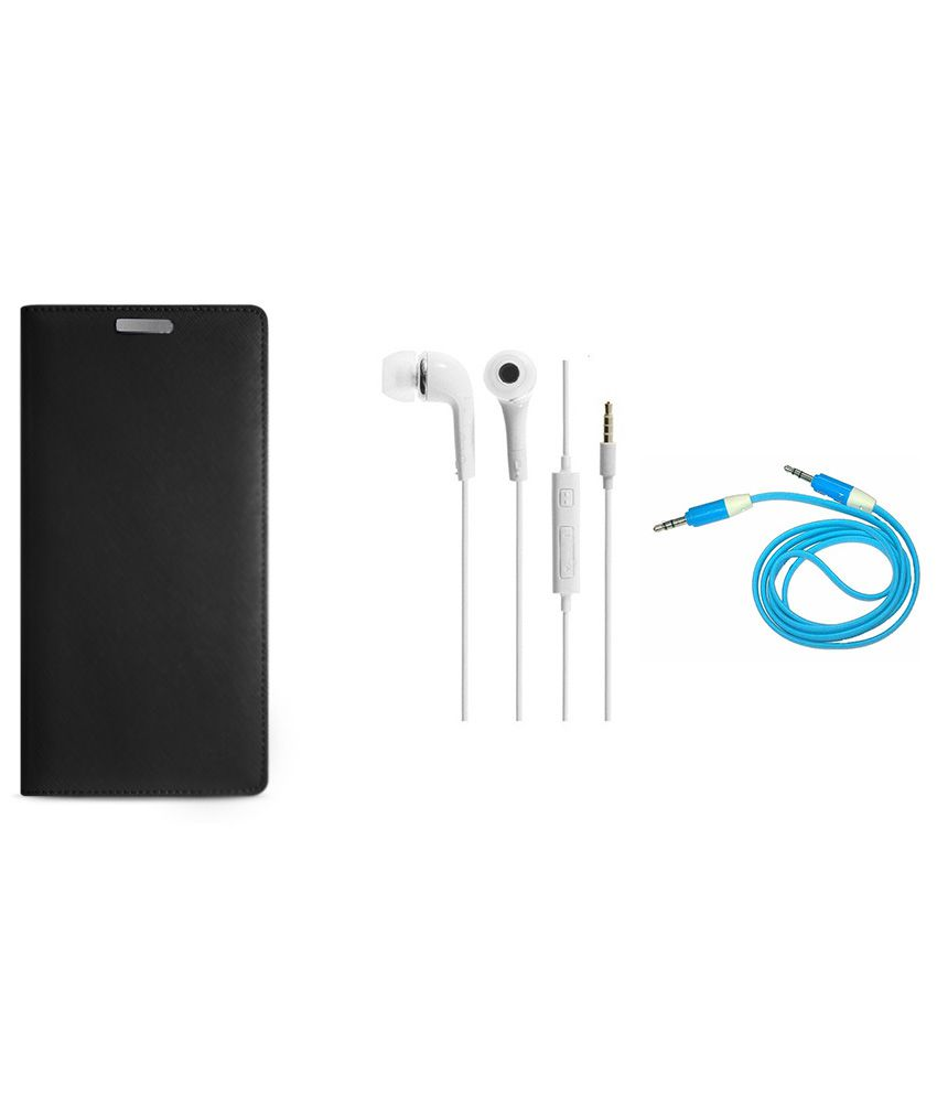 Ags Flip Cover For Xolo Black With Earphone And Aux Cable - Black With Earphone And Aux Cable