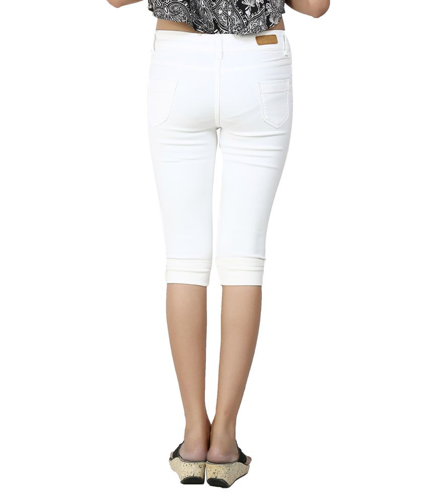 Buy Logus White Denim Capris Online at Best Prices in India - Snapdeal