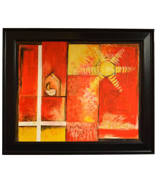Rangvas Yellow Wooden Oil Painting With Frame