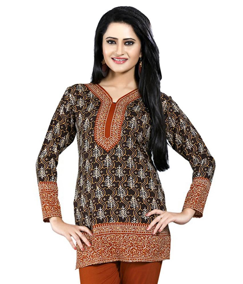 Lookslady Brown Straight Polyester Kurti