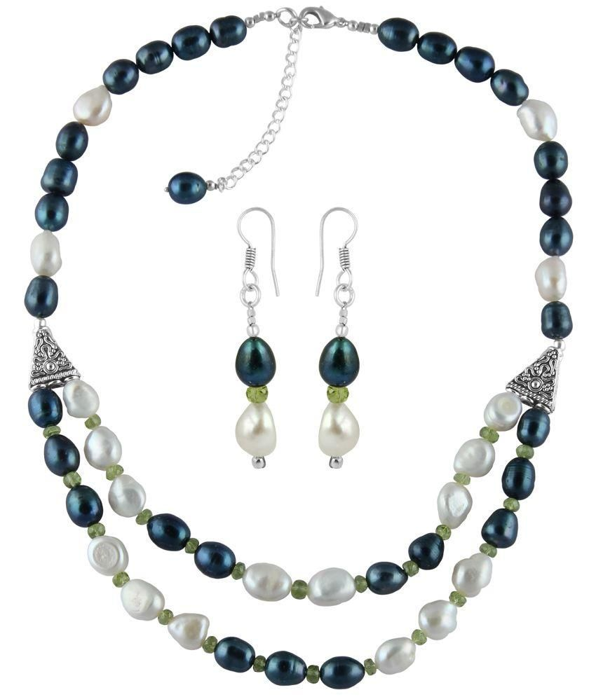 Pearlz Ocean Green Designer Pearl Necklace Set