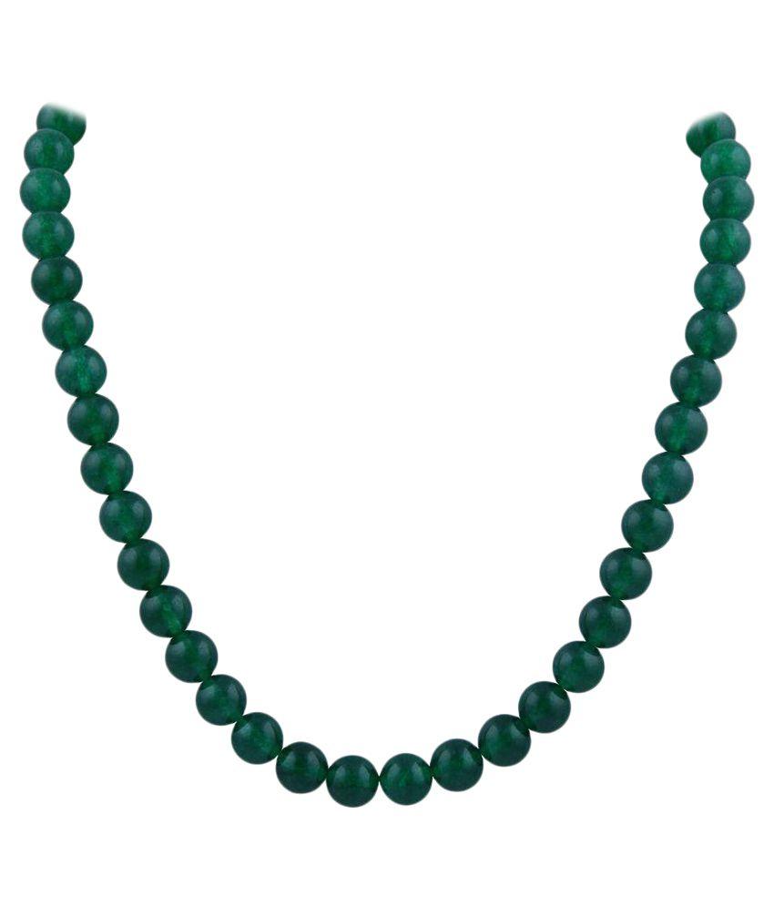 Pearlz Ocean Green Jade Gemstone Beads Necklace