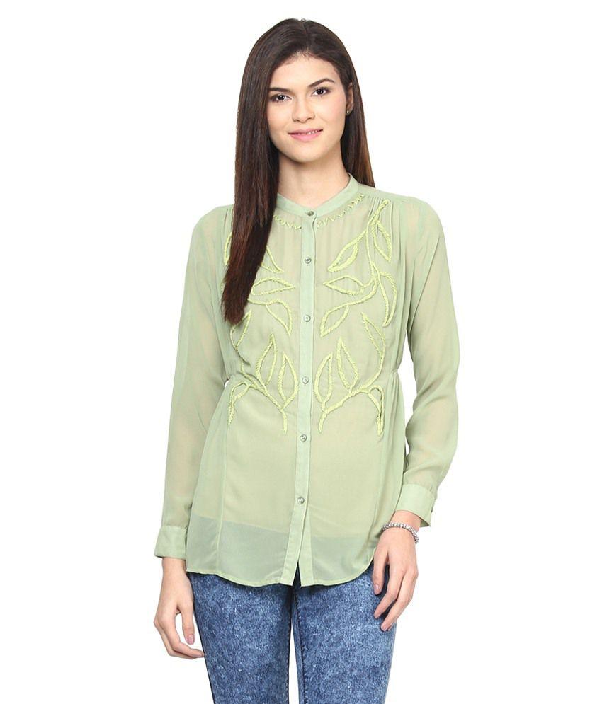L'elegantae Green Poly Georgette Shirts