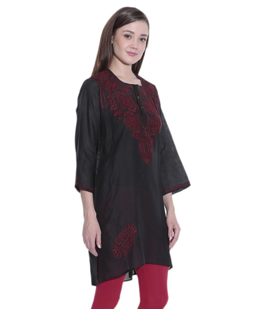 5f30ab6b30 Indian Handicraft Standards Black Lucknowi Chikan Straight Cotton Hand  Embroidered Kurti - Buy Indian Handicraft Standards Black Lucknowi Chikan  Straight ...