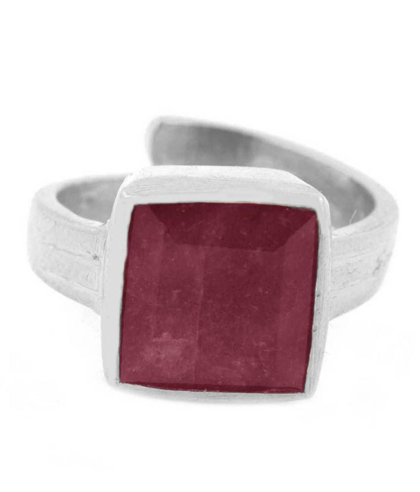 Avaatar 92.5 Sterling Silver 5 Dhatu Ruby Ring