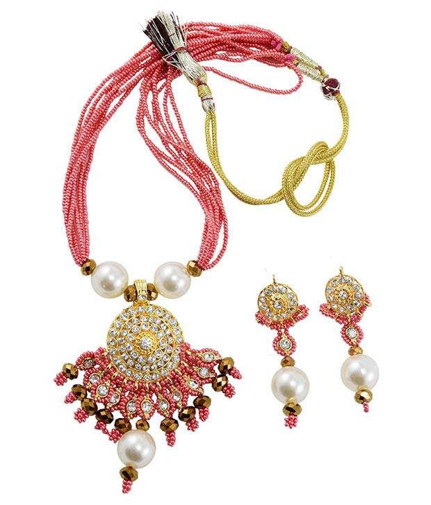 Fashionvalley Rosy Pink Jeko Moti Diamond Stone Pendant Necklace Set