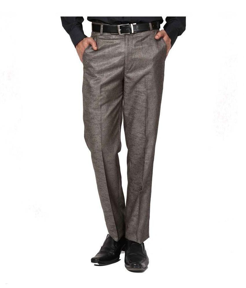Praado Grey Cotton Blended Pant