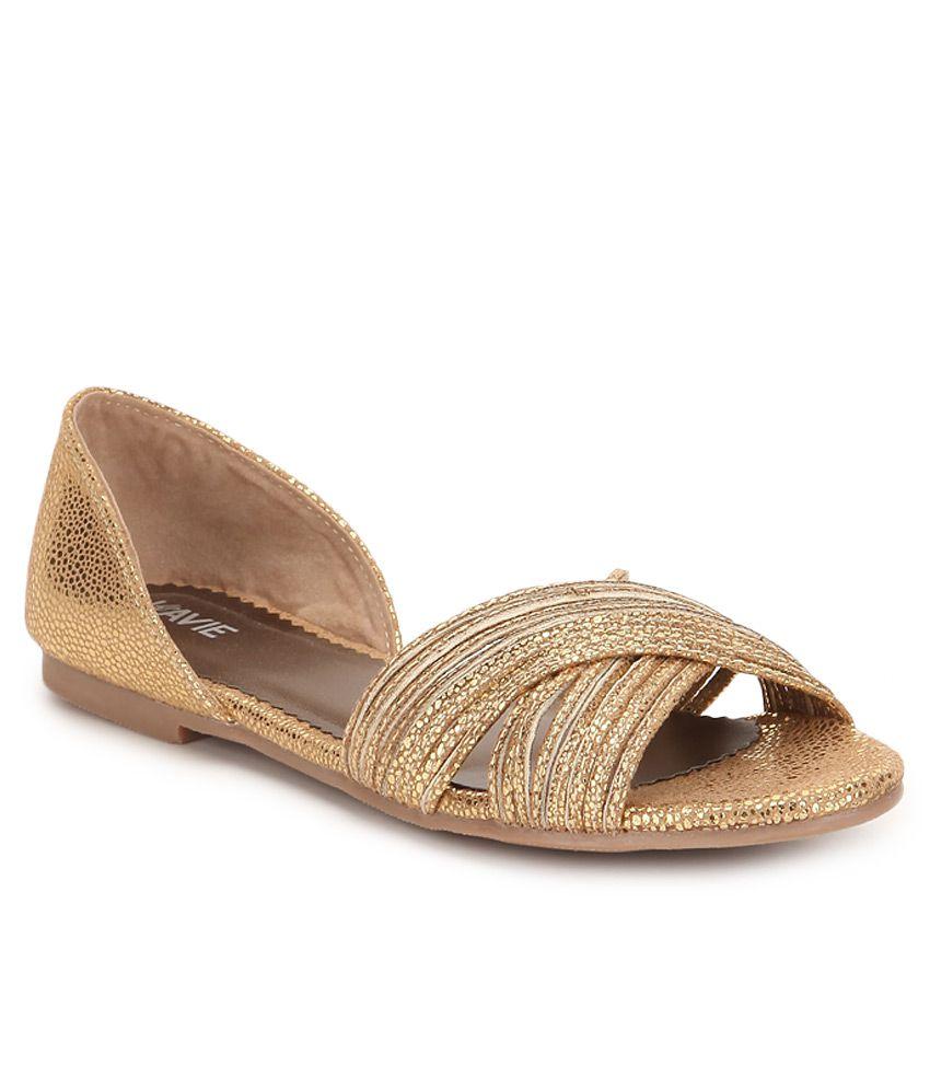 Lavie Gold Flat Sandals