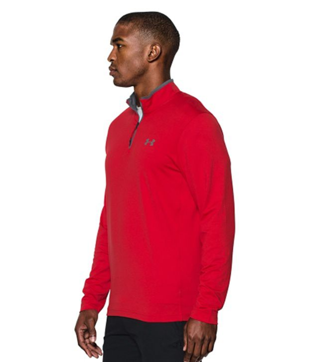 Under Armour Under Armour Men's Coldgear Infrared Quarter Zip Long Sleeve Shirt, Tanstone/red