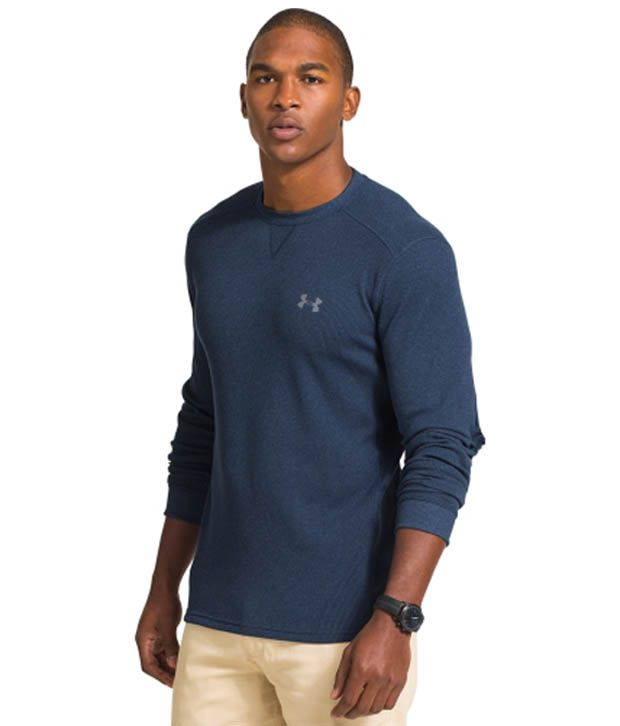 Under Armour Under Armour Men's Amplify Thermal Crewneck Long Sleeve Shirt, Legion Blue/hi Vis Yellow