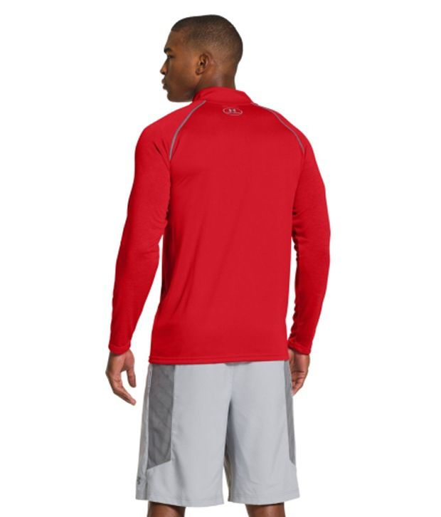 Under Armour Under Armour Men's Ua Tech Quarter Zip Long Sleeve Shirt, True Grey Heather/red