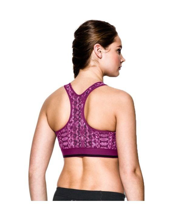 Under Armour Under Armour Women's Heatgear Alpha Printed Sports Bra, Rebel Pink/graph Melange