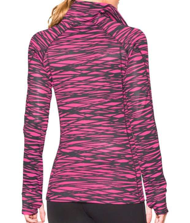 Under Armour Under Armour Women's Coldgear Printed Half Zip Long Sleeve Shirt, Rebel Pink/crosshatch