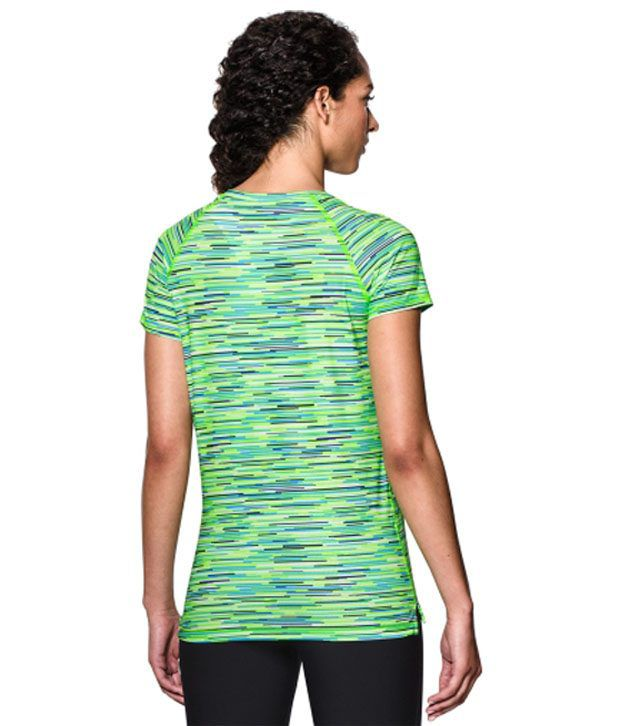 Under Armour Under Armour Women's Heatgear Armour Printed Mesh V-neck T-shirt, Hyper Green/graph Melange