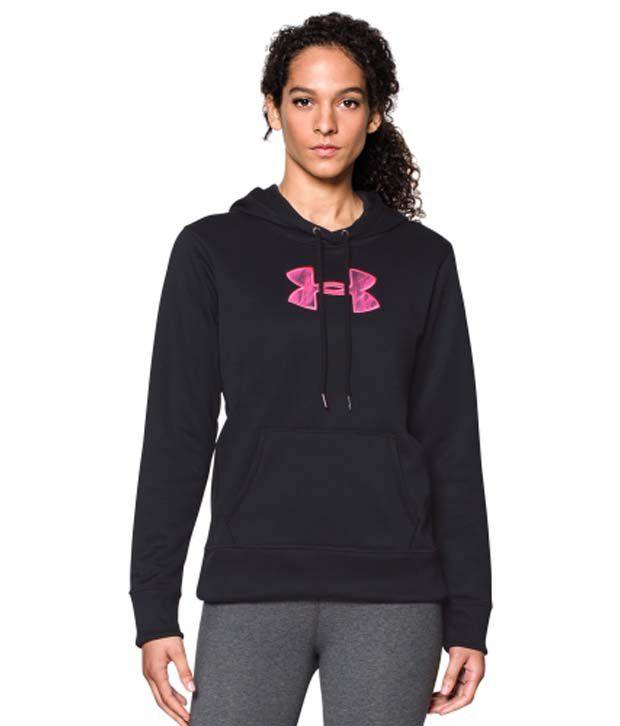 Under Armour Under Armour Women's Power In Pink Storm Armour Fleece Printed Big Logo Hoodie, Black/cerise