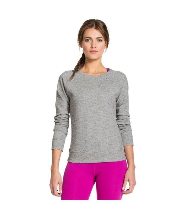 Under Armour Under Armour Women's Studiolux Tweed Crewneck Long Sleeve Shirt, Med Grey Heather/blk/mtp