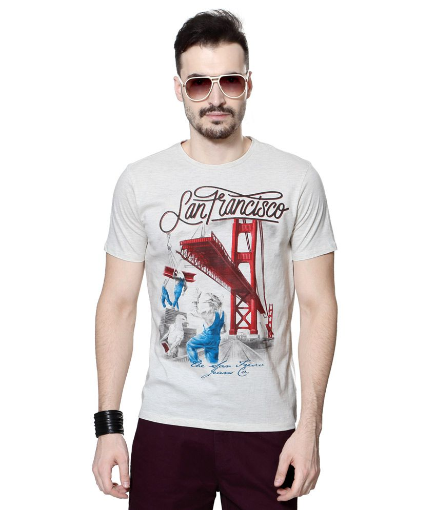 SF Jeans by Pantaloons Grey Round Neck T Shirt