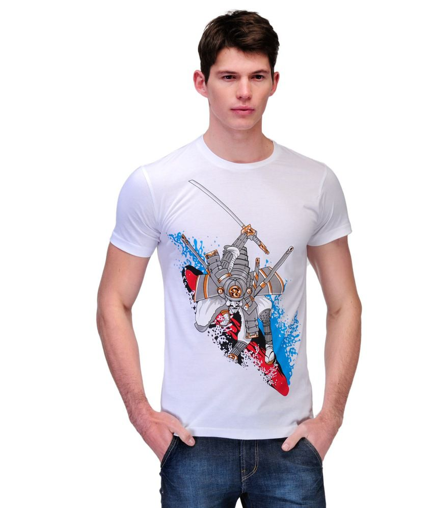Slingshot White And Red Cotton Round Neck T-shirt With A Trendy Graphic