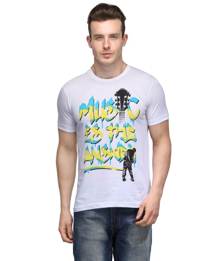 Slingshot White And Yellow Cotton Round Neck T-shirt With A Trendy Graphic