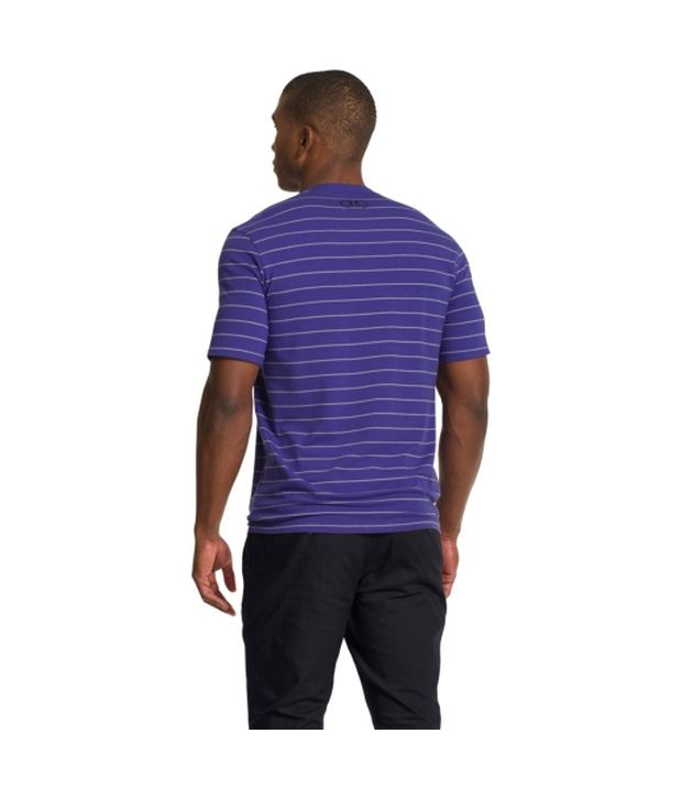 Under Armour Men's Charged Cotton Pinstripe V-Neck Short Sleeve Shirt, True Gray Htr/Scatter/Ady