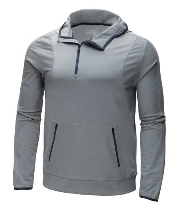 Under Armour Men's Forum Quarter Zip Hoodie Hearthstone/Silver