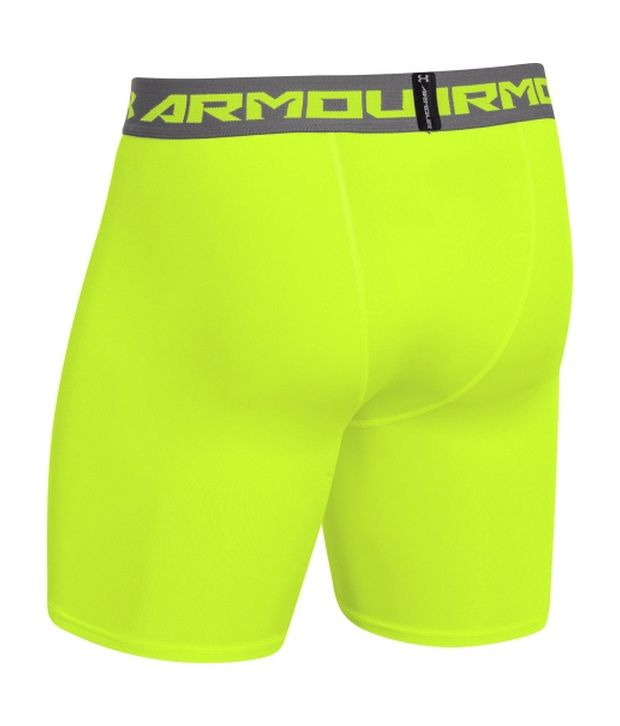 Under Armour Men's HeatGear Armour Compression Shorts - Mid Stealth Gray/Hyper Green