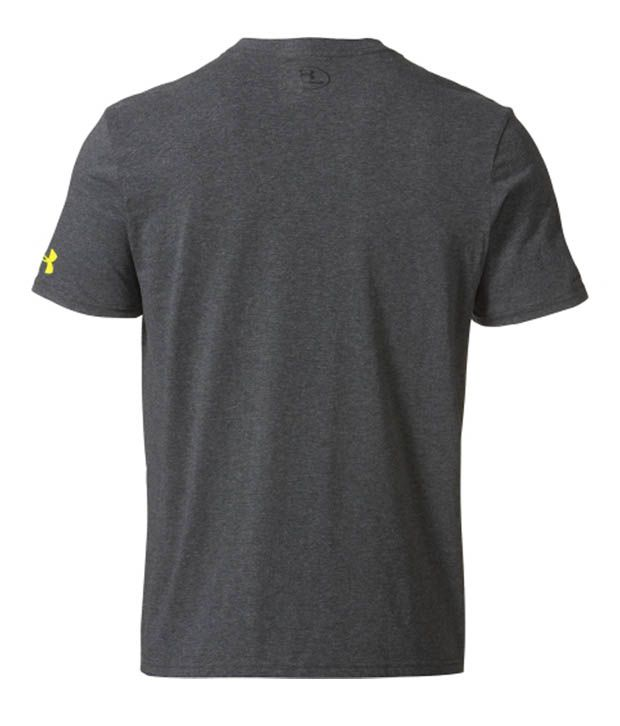 Under Armour Under Armour Men's Charged Cotton Blocked Graphic T-shirt, Carbon Heather/hivis Yell