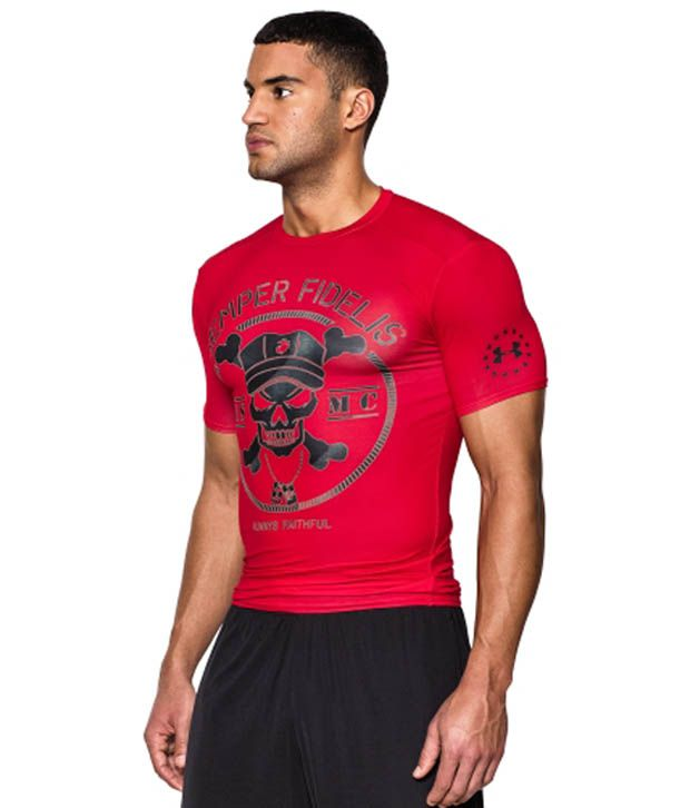 Under Armour Under Armour Men's Ua Freedom Marines Compression Short Sleeve Shirt, Red/black