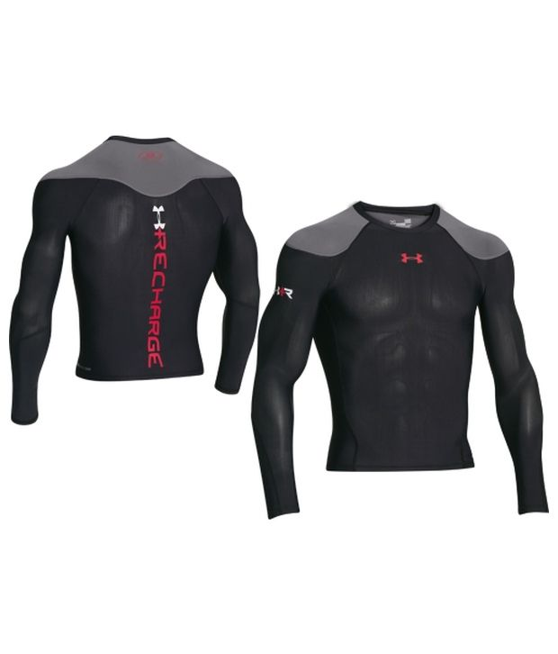 Under Armour Under Armour Men's Recharge Energy Compression Long Sleeve Shirt, Black/risk Red