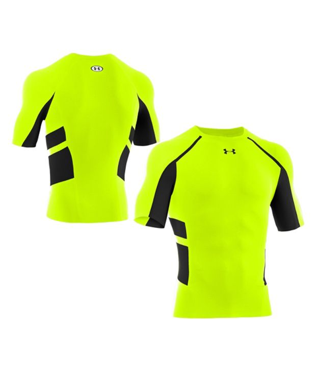 Under Armour Under Armour Men's Heatgear Armour Stretch Compression Shirt, Black/hyper Green