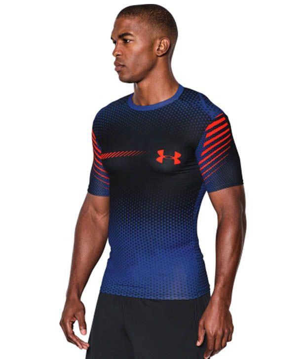 Under Armour Under Armour Men's Heatgear Armour Branded Compression Shirt, Black/cobalt/bolt Orange
