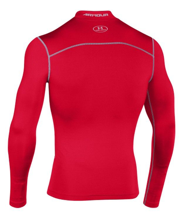 Under Armour Under Armour Men's Coldgear Armour Compression Mock Neck Long Sleeve Shirt, Maroon/steel