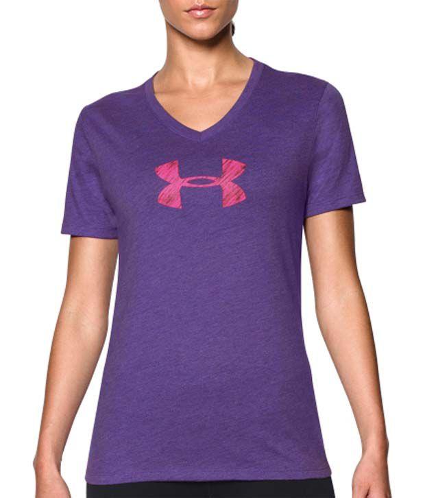 Under Armour Under Armour Women's Charged Cotton Tri-blend Logo V-neck T-shirt, Jazz Blue/europa Purple