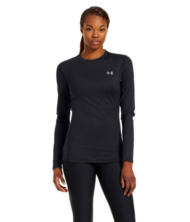 Under Armour Women's ColdGear Fitted Long Sleeve Crewneck Shirt, White