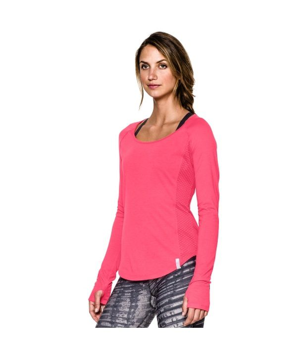 Under Armour Women's Fly-By Long Sleeve Shirt, Rebel Pink