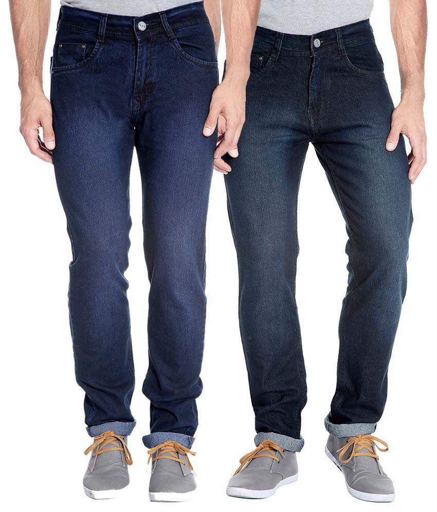 Flyjohn Blue & Black Slim Fit Jeans - Pack Of 2