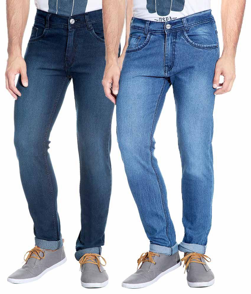Flyjohn Blue Cotton Slim Fit Jeans