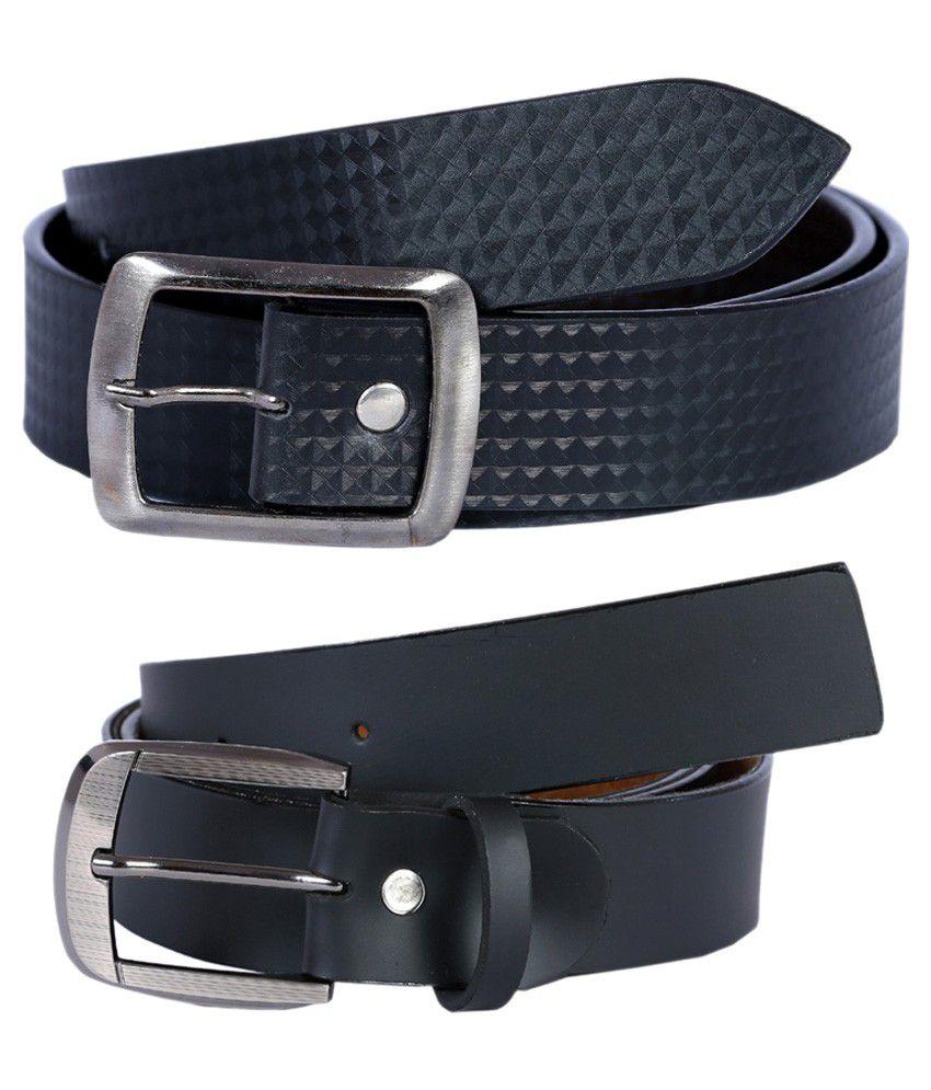 Hardys Collection Black Leather Formal Belt For Men - Pack Of 2