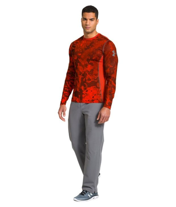 Under Armour Under Armour Men's Heatgear Sonic Fitted Printed Long Sleeve Shirt, Volcano/graphite