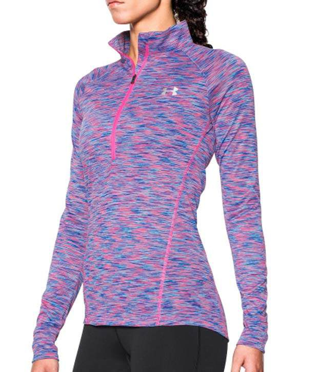 Under Armour Under Armour Women's Tech Disruptive Space Dye Half Zip Long Sleeve Shirt, Cyber Orange/rebel Pink